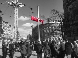 The big cross for Holy Week Sheffield city centre