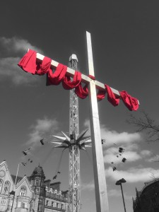 The big cross in the city centre for Holy Week